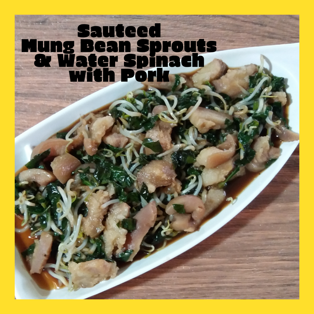 Learn how to make sauteed mung bean sprouts and water spinach with pork