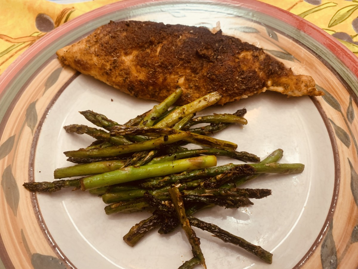 Spicy Cajun Crusted Chicken and Asparagus