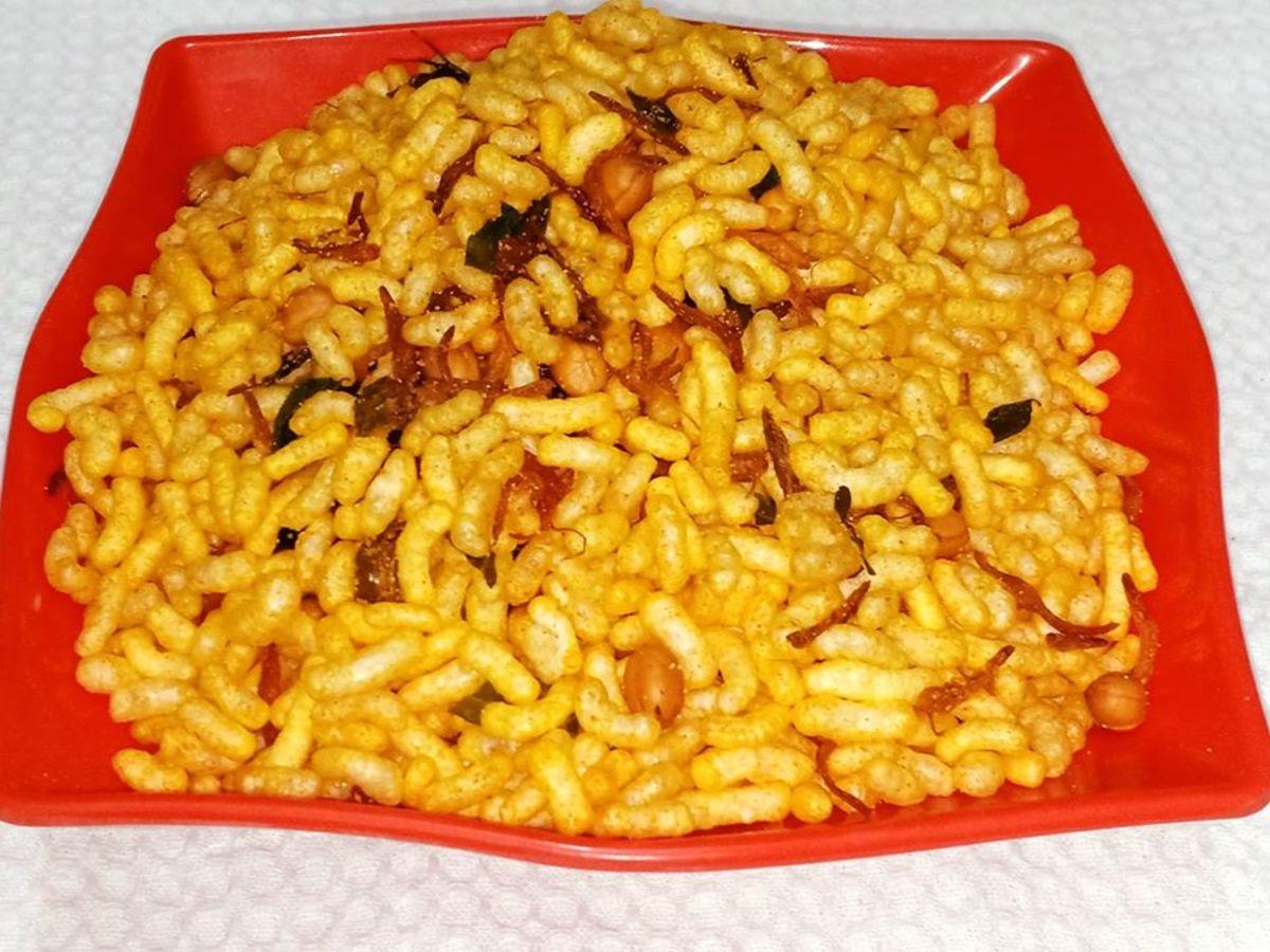Murmura namkeen is a savory puffed rice snack
