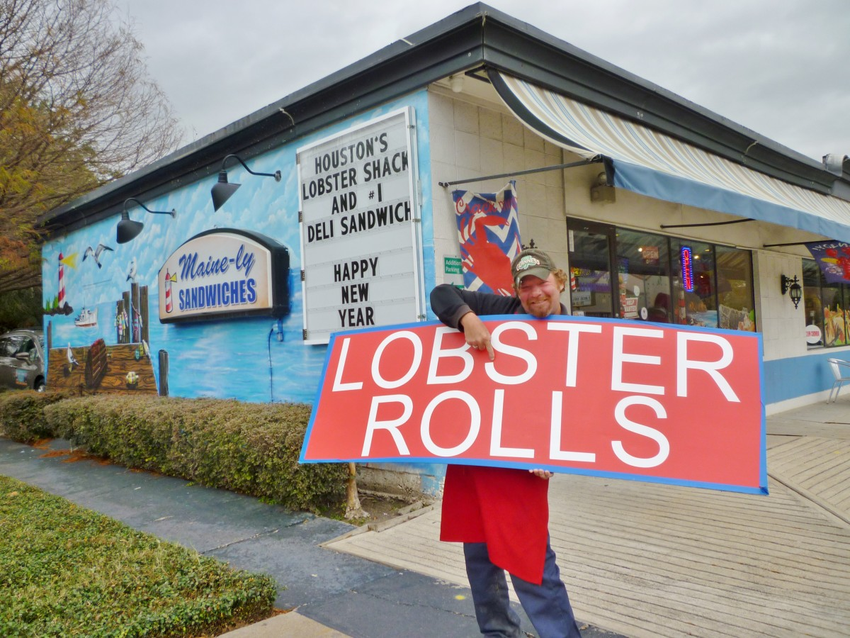 Maine-ly Sandwiches. The man holding the sign gave me permission to take and publish his photo.