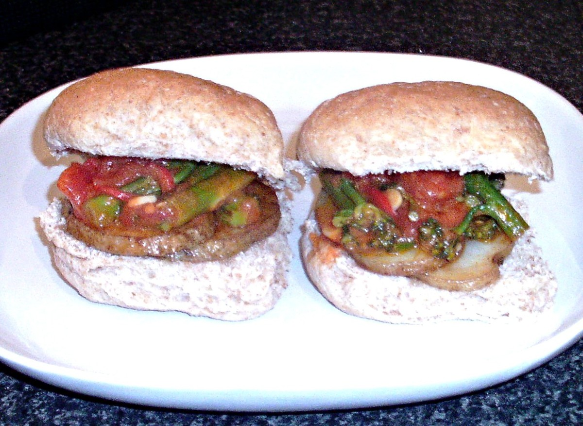Fried potatoes and tenderstem broccoli in tomato sauce bread roll sandwiches