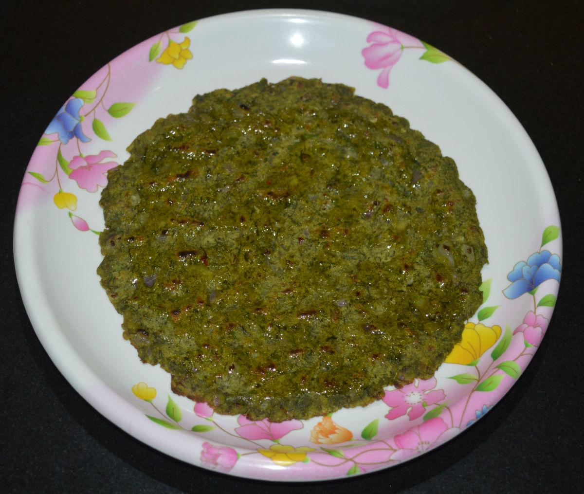 Gluten-Free Green Masala Jowar Roti (Green Spicy Sorghum Pancake)