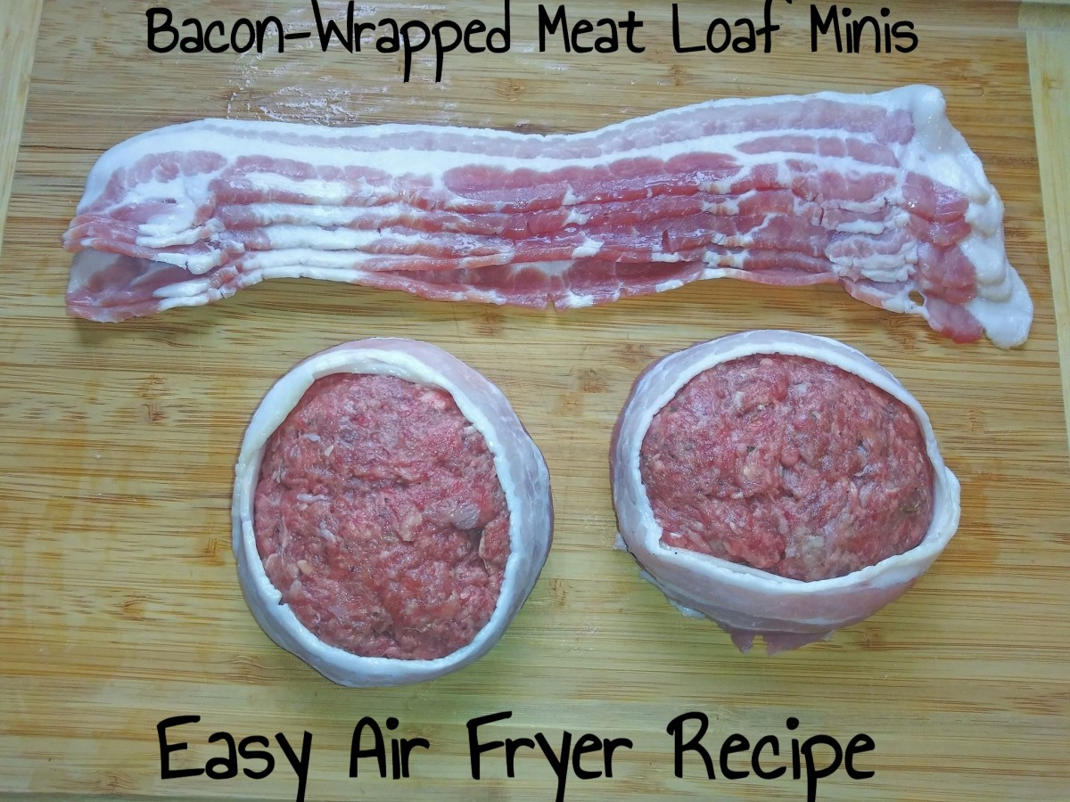 Bacon-wrapped meat loaf minis are delicious!
