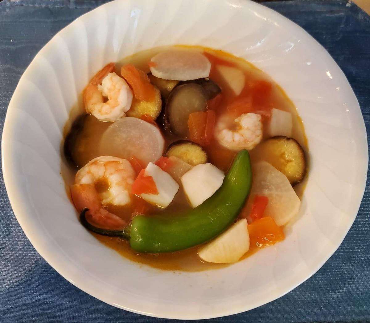 Filipino tamarind soup with prawns