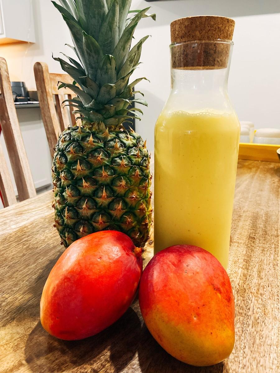 Homemade Pineapple and Mango Smoothie