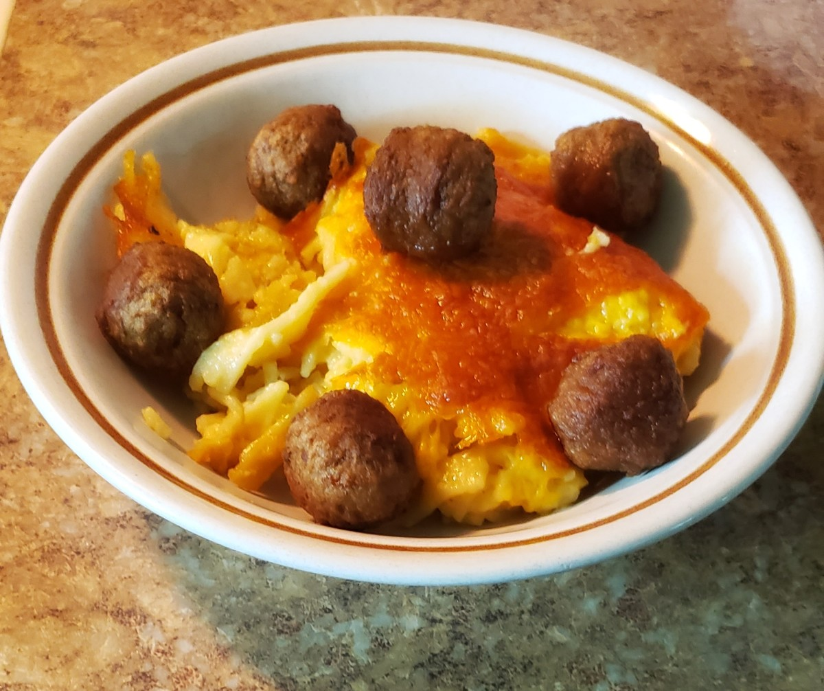 Meatballs and cheesy noodles is a tasty and satisfying meal