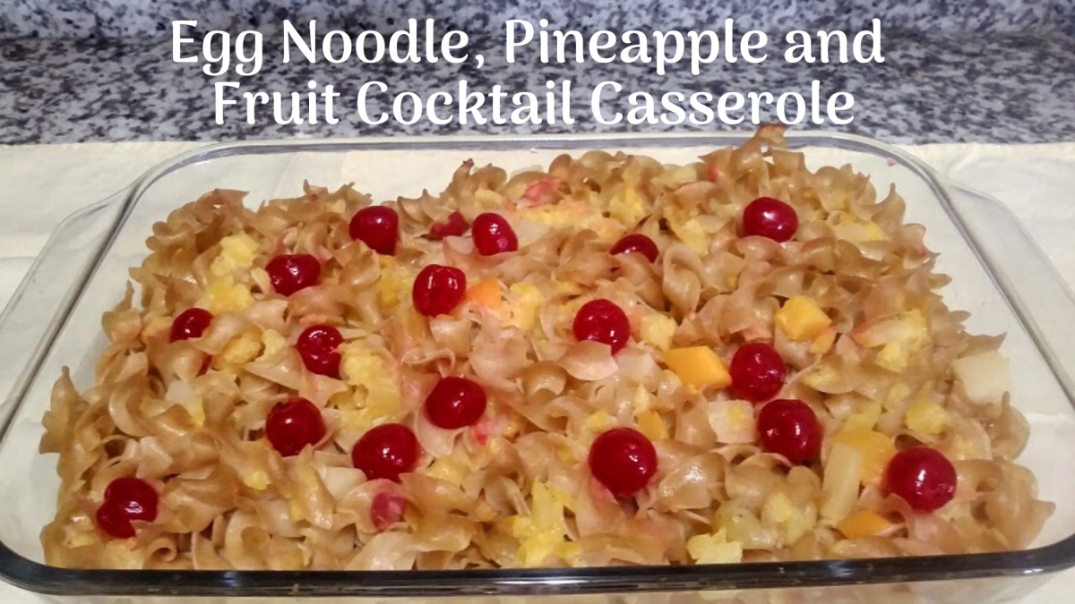 This fun egg noodle and fruit casserole makes for a refreshing summer dish