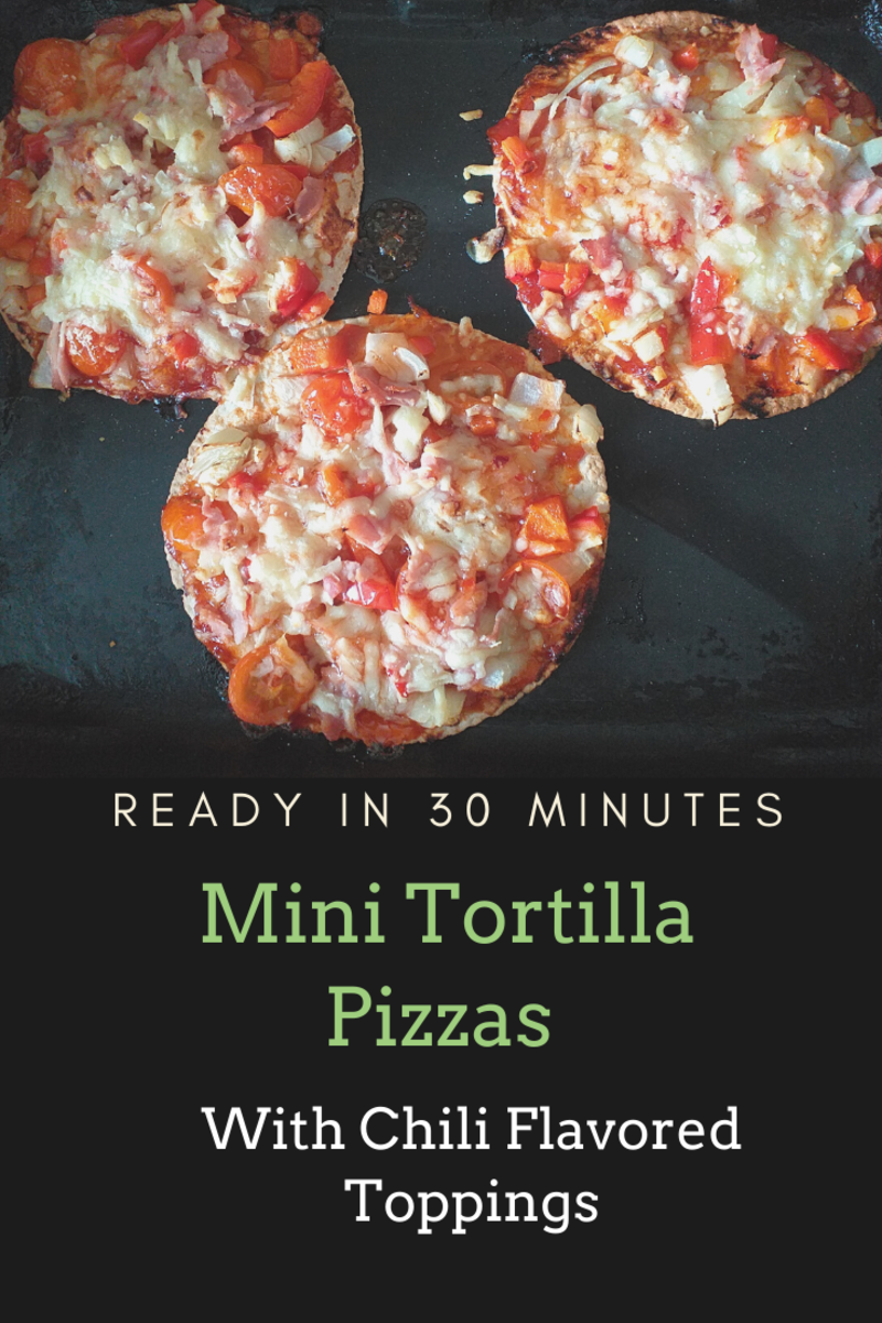 Mini Tortilla Pizza With Chili Flavored Toppings
