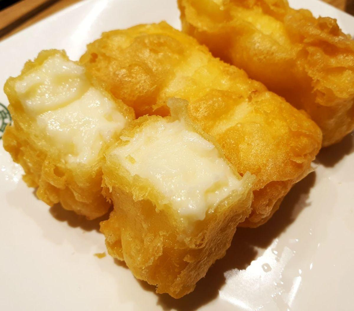 Asian-style fried custard (leche frita)