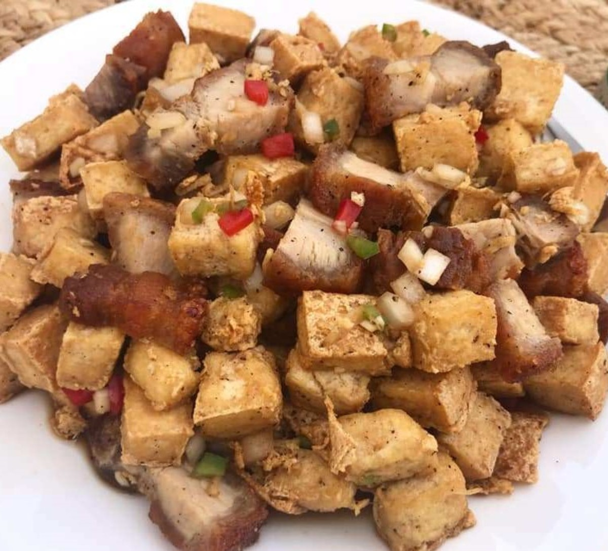 Tokwa't Baboy (Marinated Filipino Pork Belly, and Pig's Ears with  Fried Tofu)