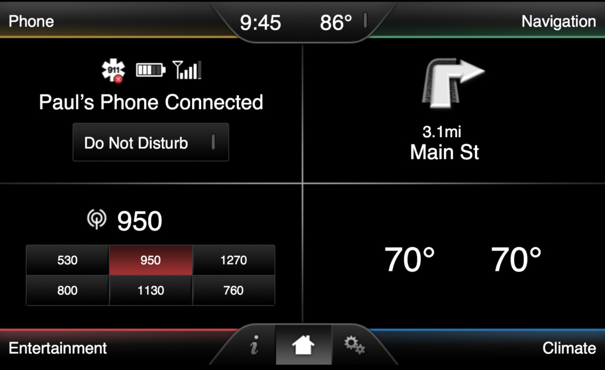 The Sync with MyFord Touch home screen.