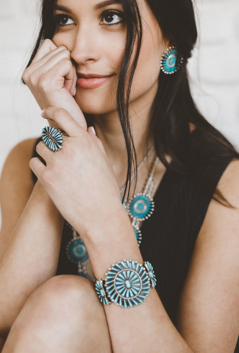Beautiful Zuni designed turquoise jewelry in the needlepoint, petit point, and inlay designs.