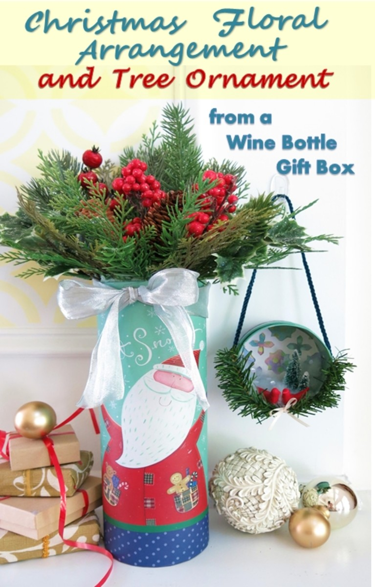 You can make a festive floral arrangement and Christmas tree ornament from almost any gift box!