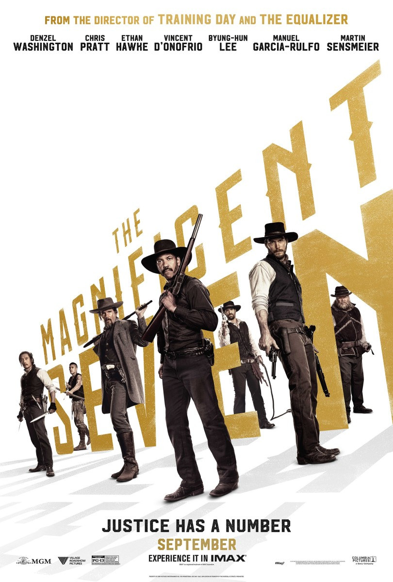 "The official final one-sheet theatrical poster for ""The Magnificent Seven."""