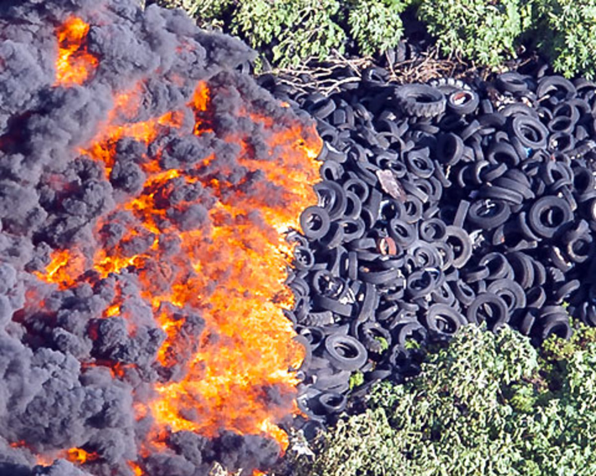 A pile of burning tires.
