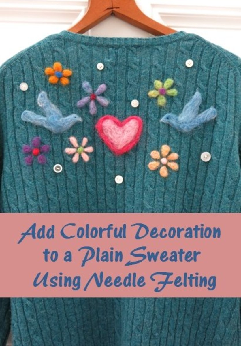 Add Fun and Colorful Decoration to a Sweater Using Needle Felting