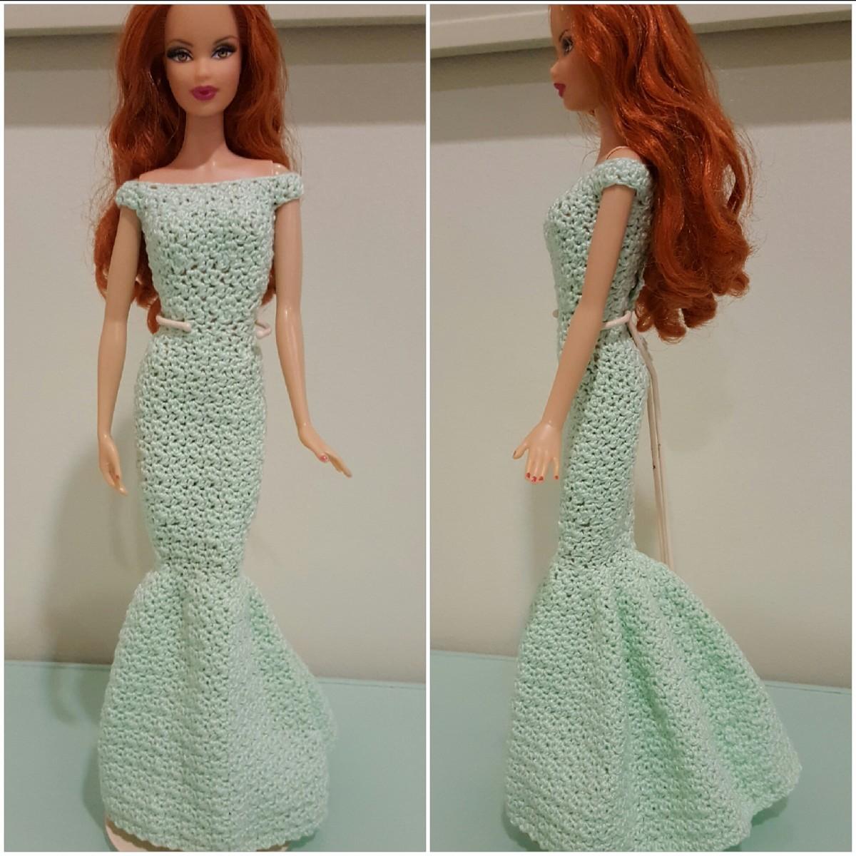 Barbie Off Shoulder Mermaid Gown Free Crochet Pattern