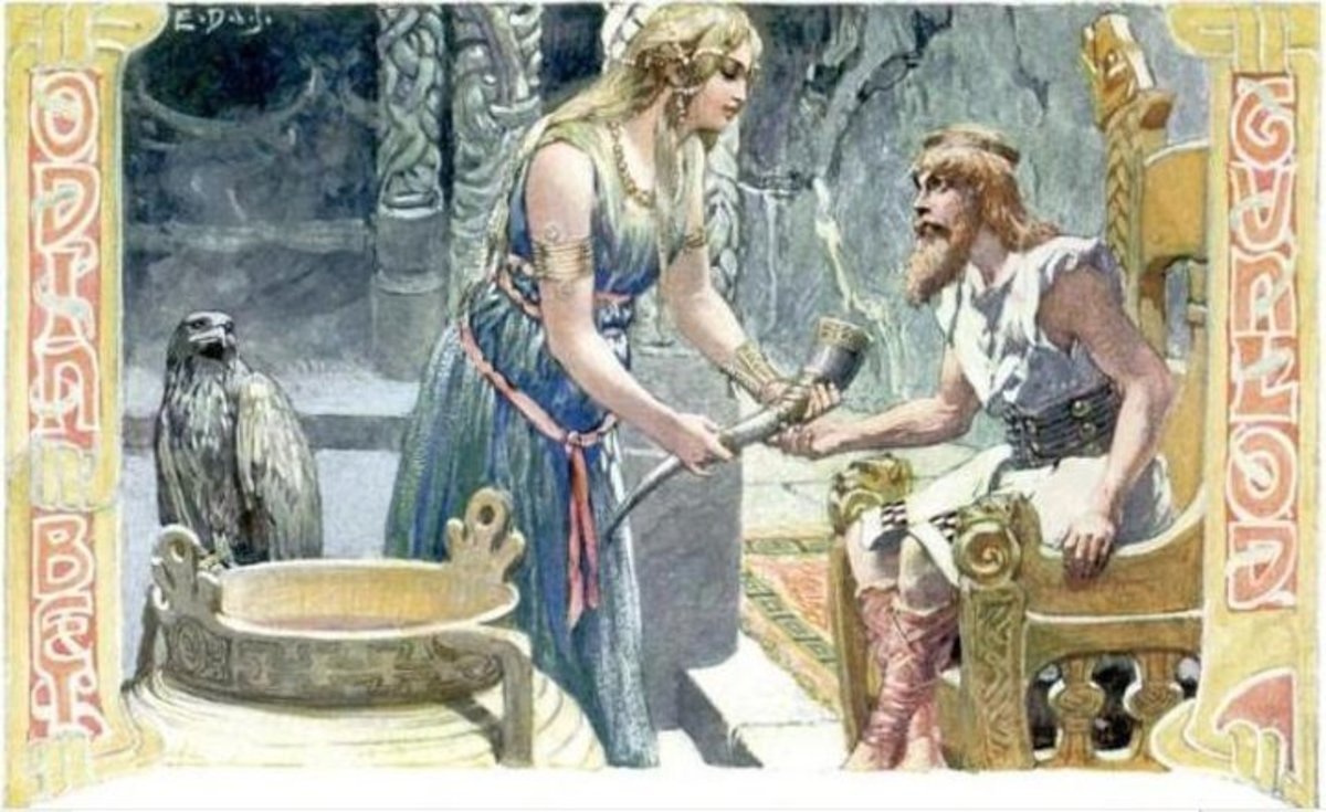 Gunlodd offering Odin the Mead of Poetry.