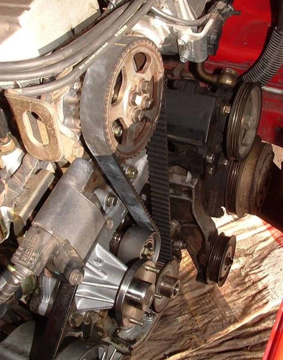 On some models, you can find the water pump next to the timing belt.