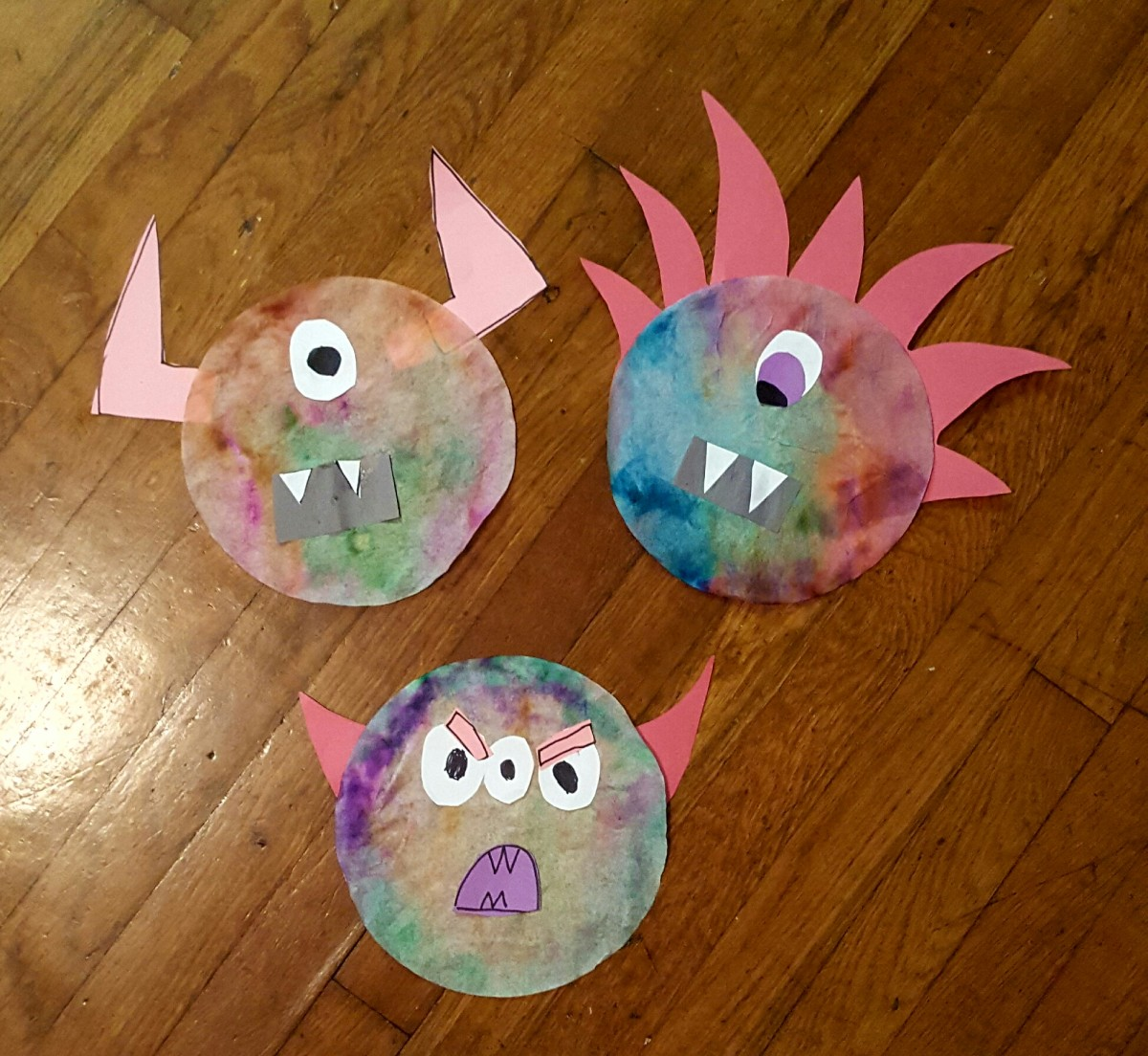 Tie Dye Coffee Filter Monster Halloween Craft