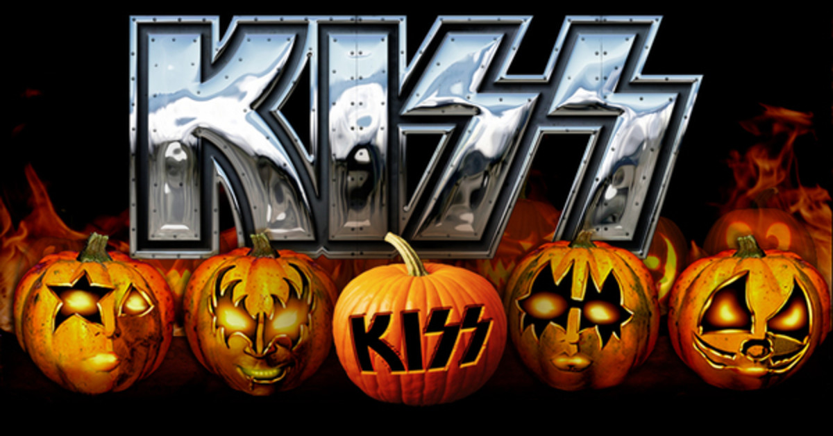Rock n roll halloween make kiss themed pumpkins using