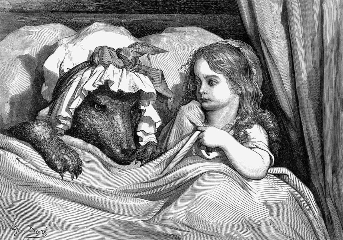 "Gustave Doré's engraving of the scene: ""She was astonished to see how her grandmother looked"""