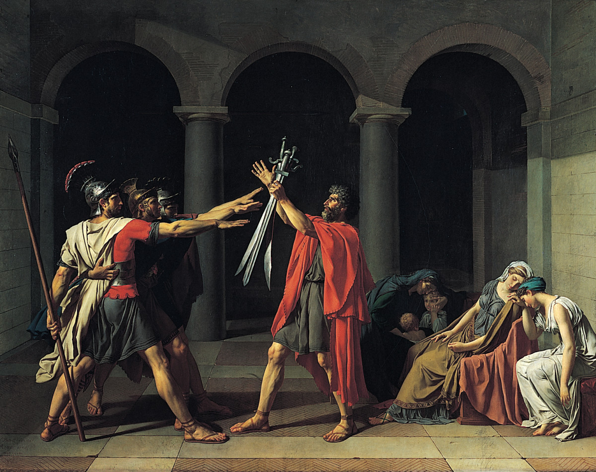 Jacques-Louis David, Oath of the Horatii, oil on canvas, 3.3 x 4.25m, commissioned by Louis XVI, painted in Rome, exhibited at the salon of 1785 (Musée du Louvre)