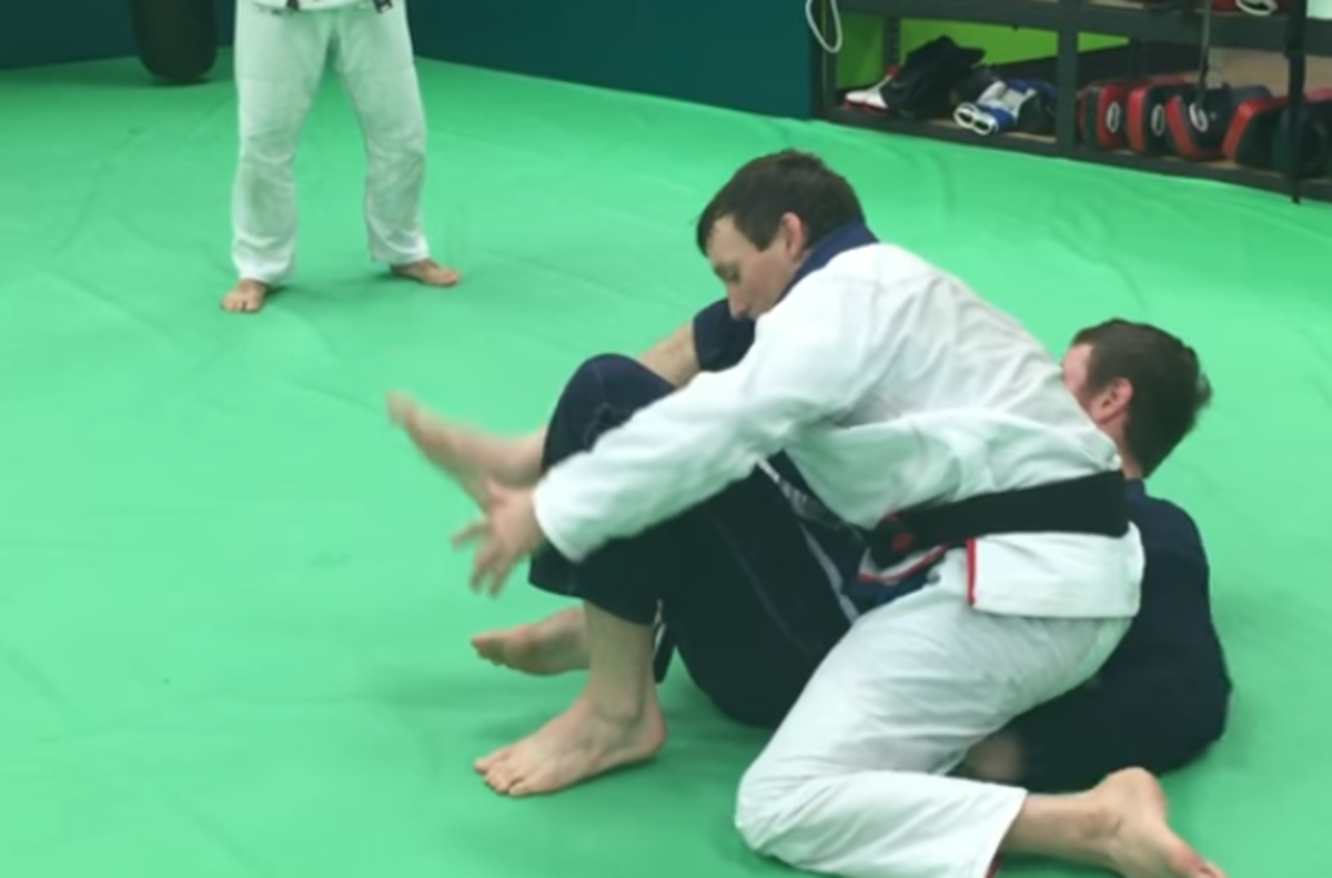 Backstep Deep Half Guard Pass:  Sweeping and Taking the Back from the Bottom