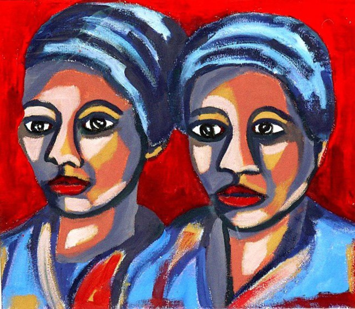Acrylic portrait of two ladies from a tropical country.