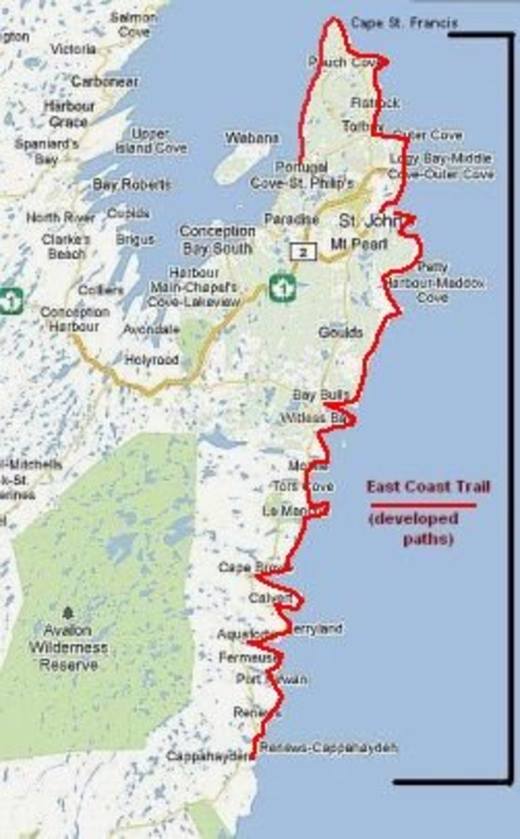Map showing the location of the East Coast Trail.