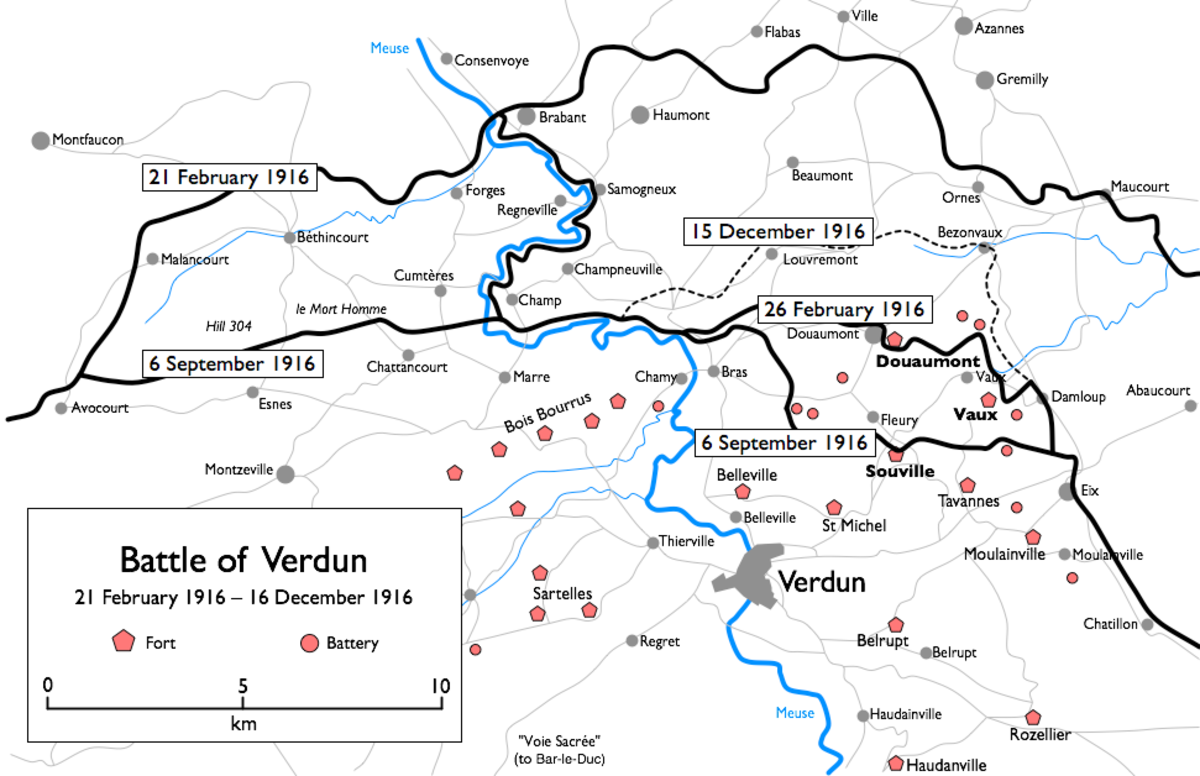 The sheer breadth and depth of the battlefield at Verdun is impressive. One French historian would give a figure at the start of the 1916 German offensive of 166 kilometers or 103 miles.