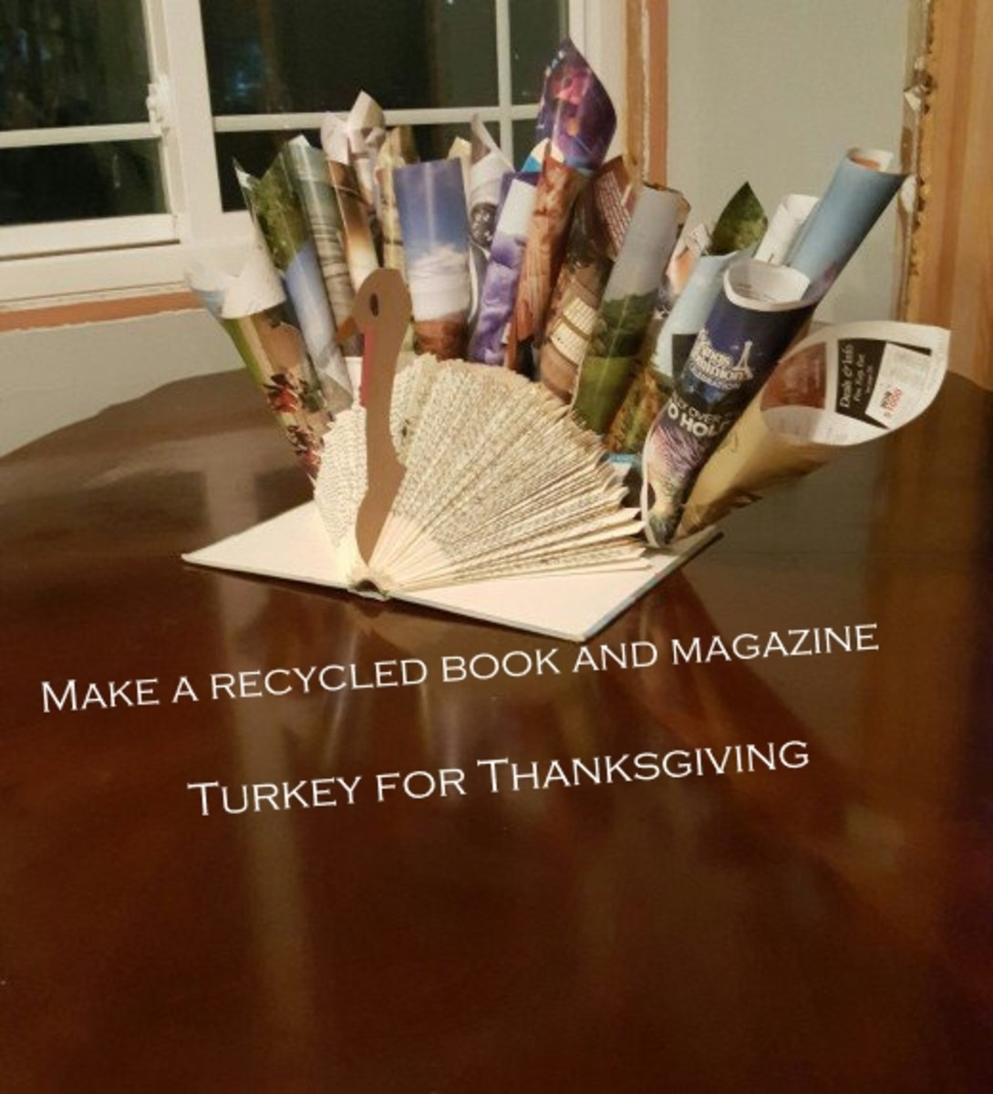 Adorable DIY Recycled Book and Magazine Turkey for Thanksgiving