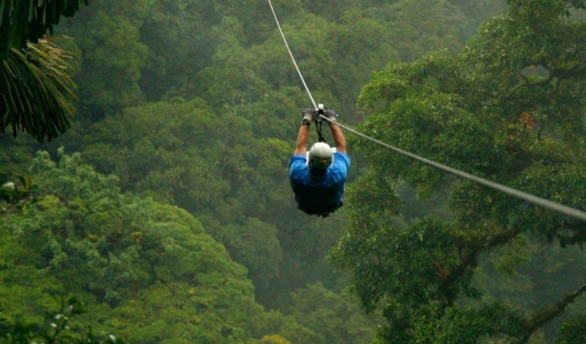 Zip line over the rainforest canopy in Costa Rica.