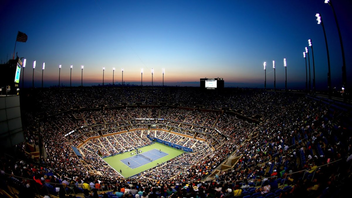 The Arthur Ashe Stadium; the centrepiece of Flushing Meadows.