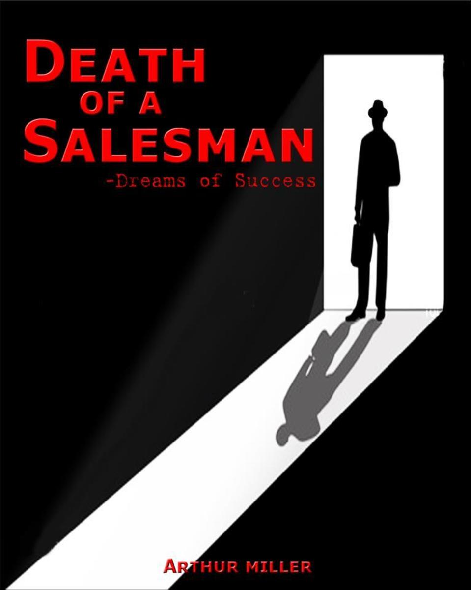 Death of a Salesman poster epitomising the loneliness of the protagonist and the single solution is believes there is to his predicament.