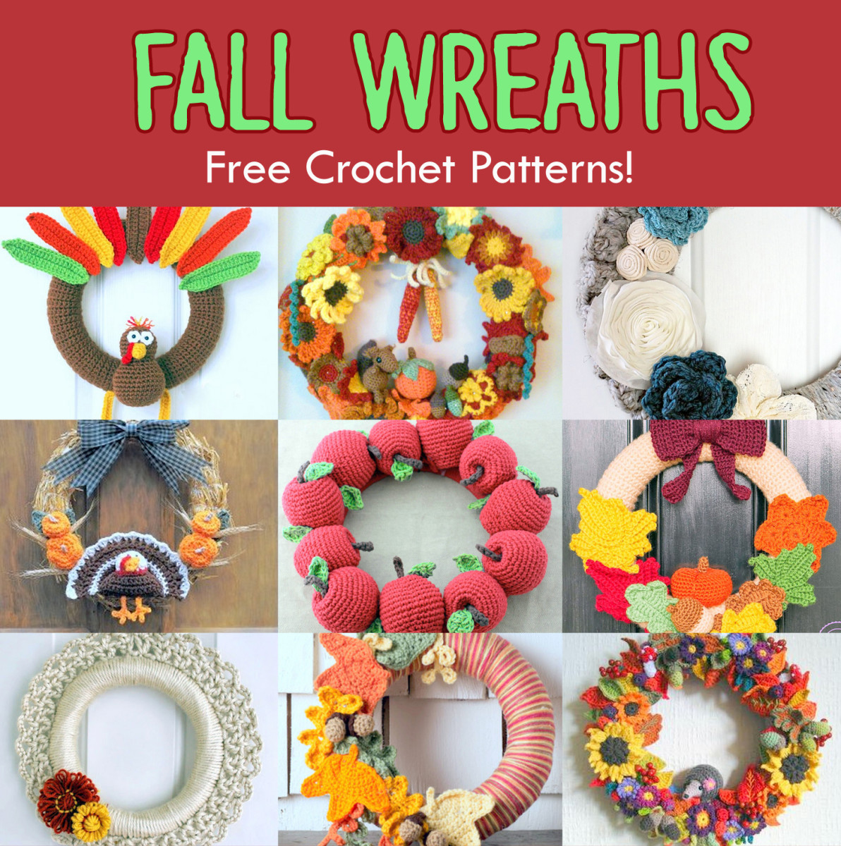 11 Free Fall & Thanksgiving Wreaths Crochet Patterns