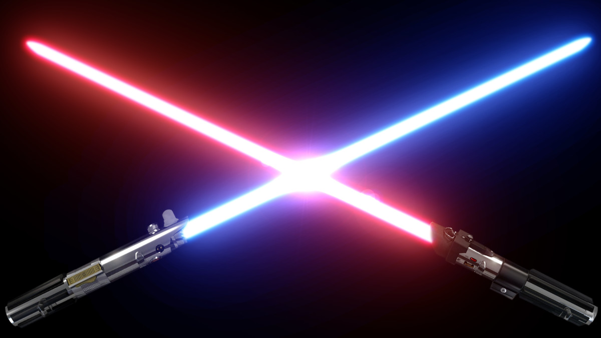 Blue and red lightsabers