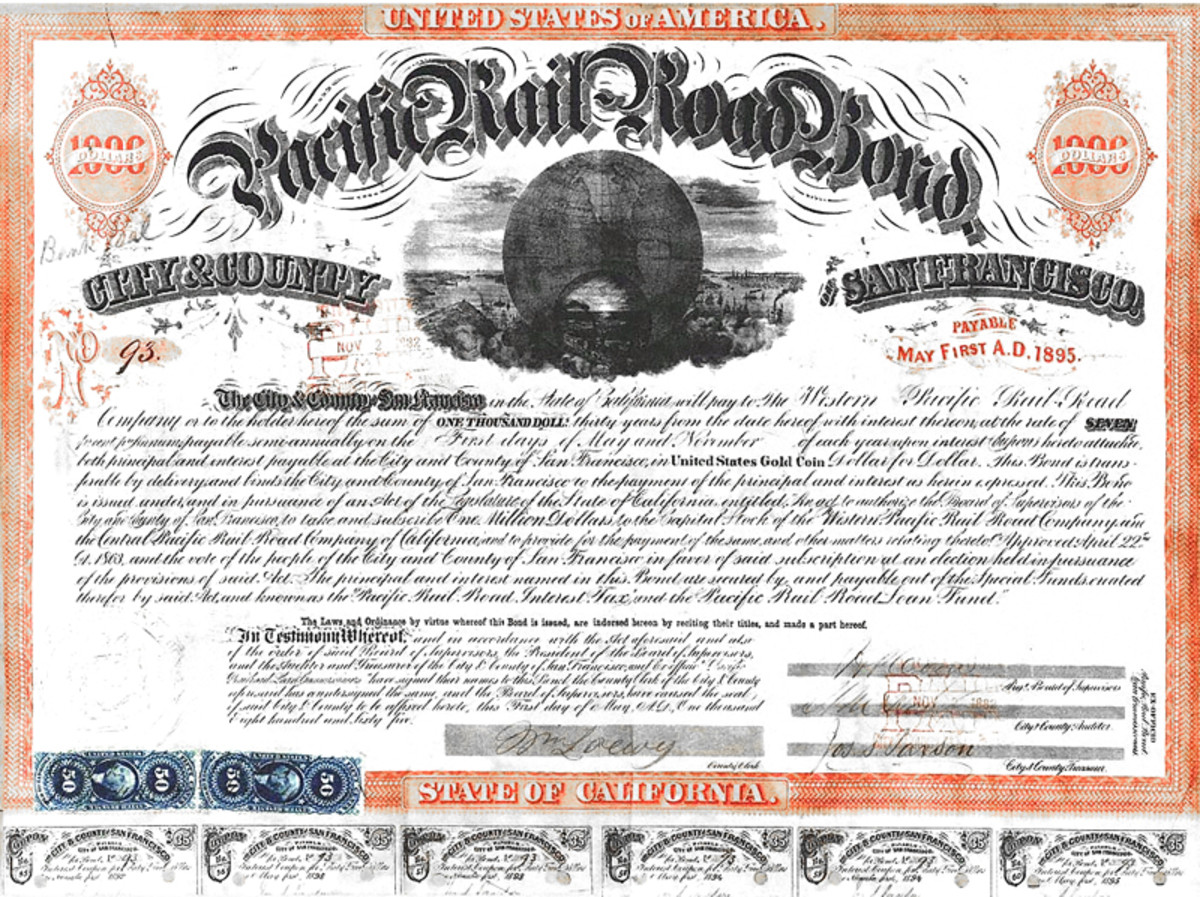 Vintage Bond certifcate with coupons at the bottom. Today, most bonds are held in brokerage accounts rather than holding the paper certificates.