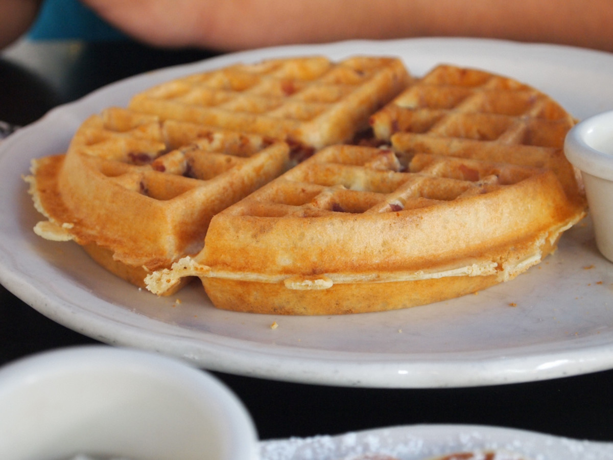 A delicious waffle for breakfast.