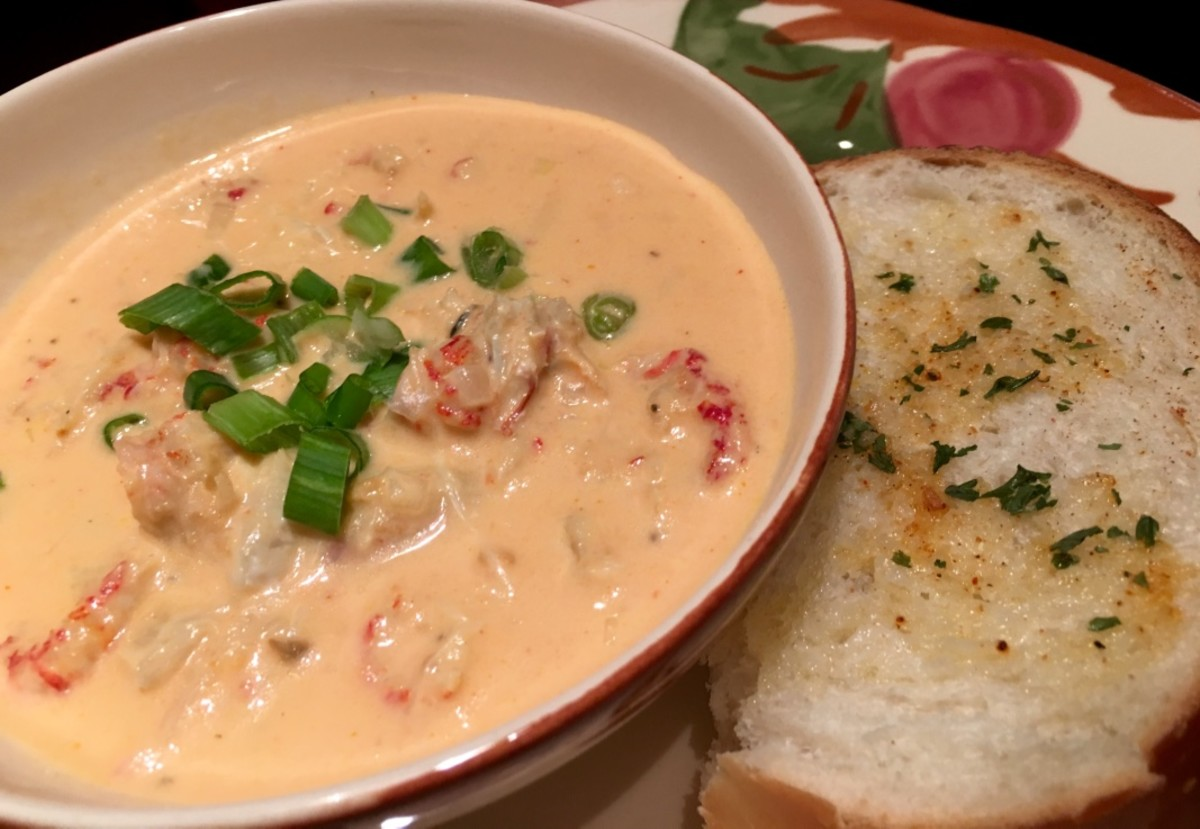 The completed creamy crawfish bisque.