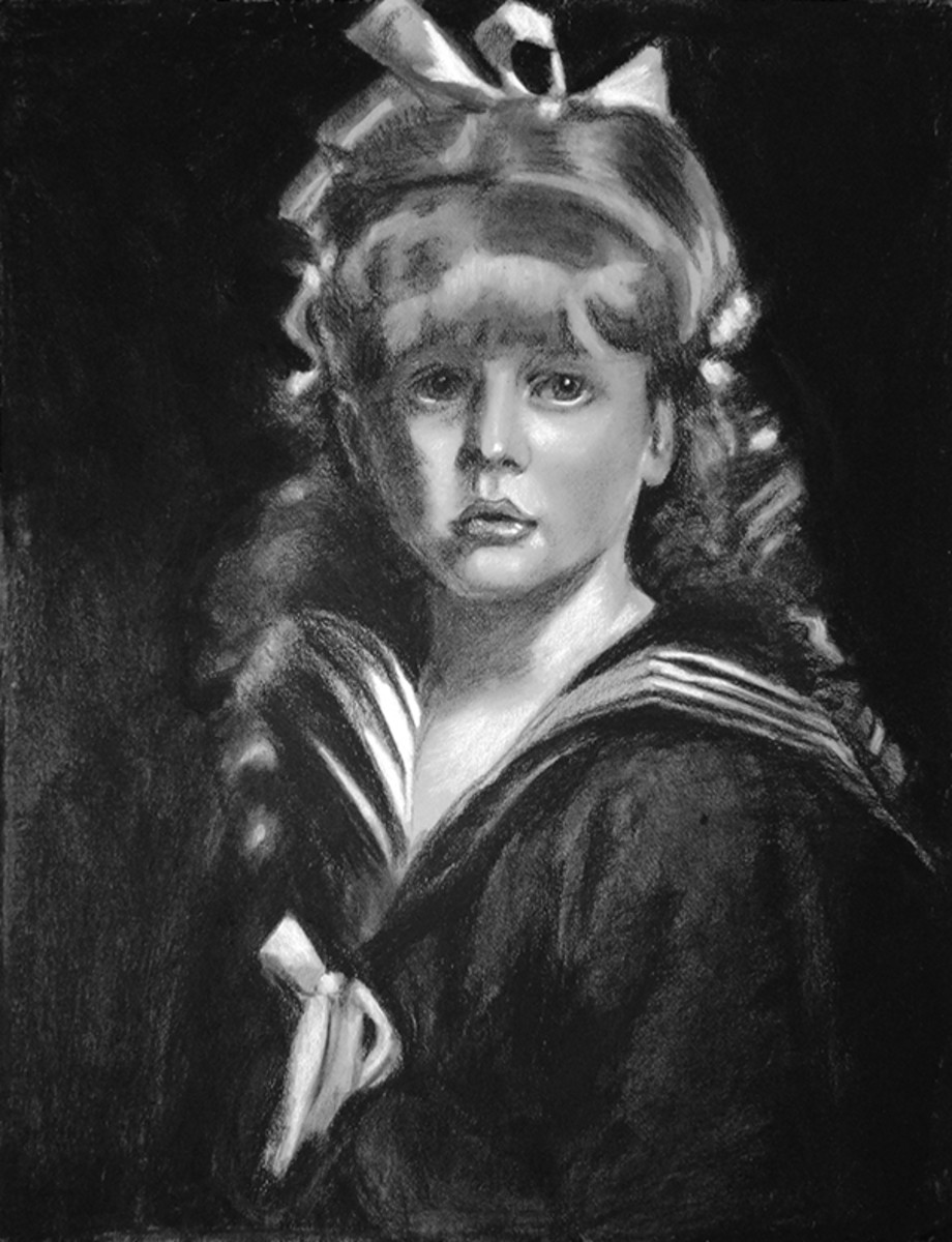 Charcoal drawing of a girl.