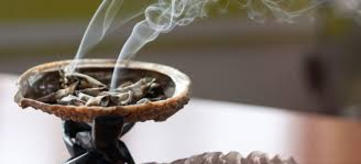 Just pass the crystals through the sage burning in the container, while asking the stone to do what you need it to do.