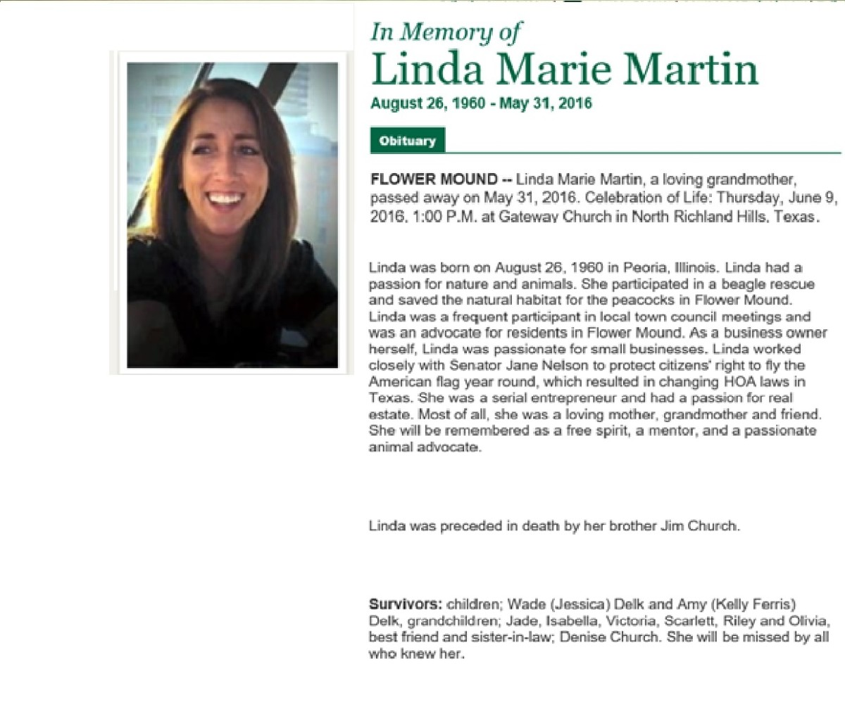 A tribute to a friend – Linda Martin, We Will Miss You