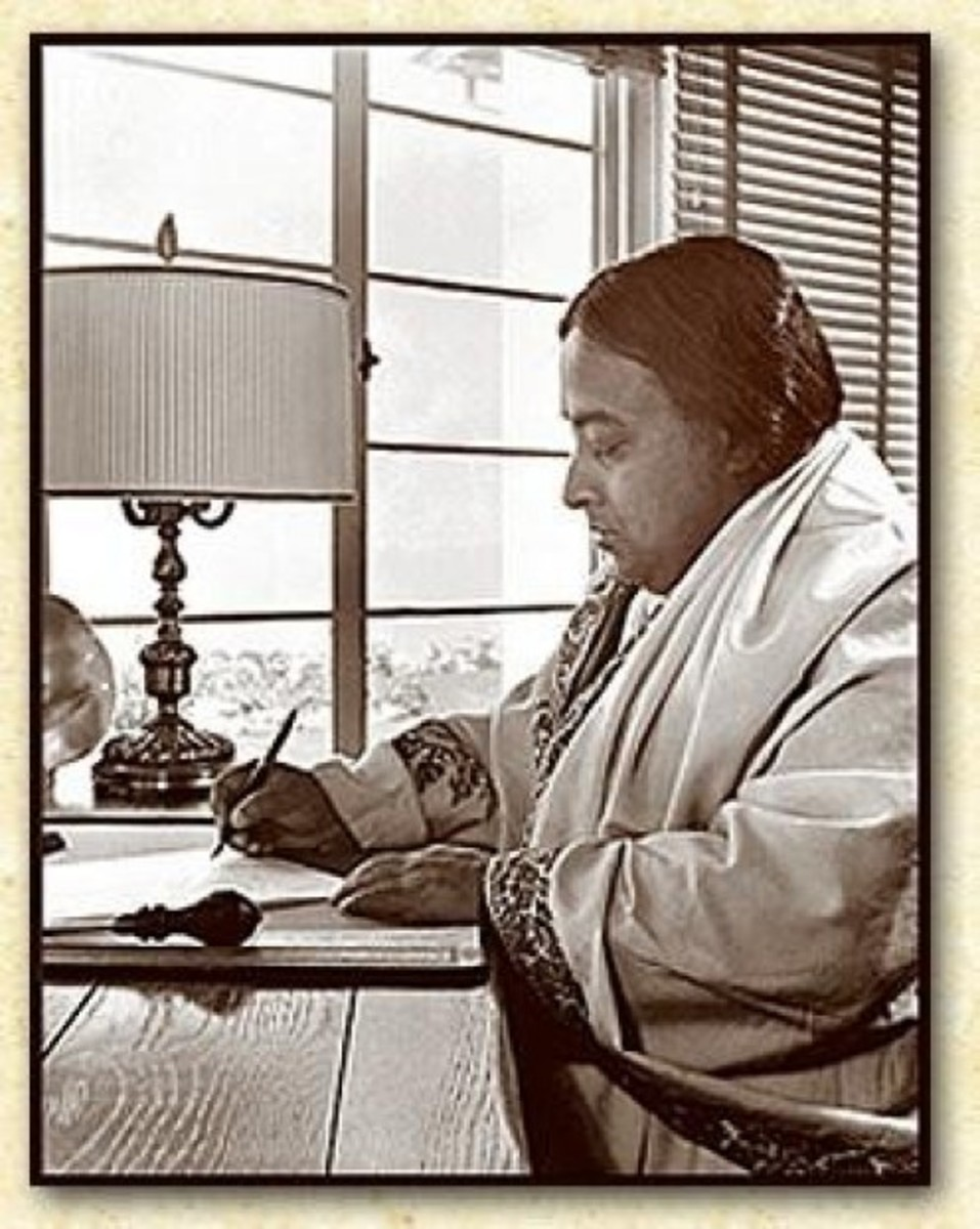 Paramahansa Yogananda writing his Autobiography of a Yogi, at Self-Realization Fellowship's Hermitage in Encinitas, California.