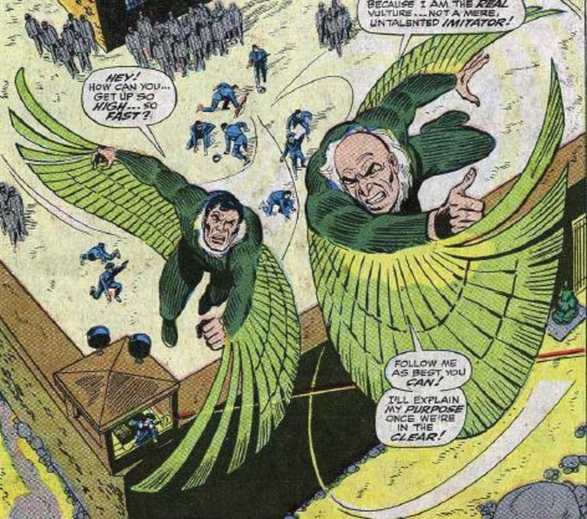 The original Vulture followed by his second stringer, Blackie Drago.