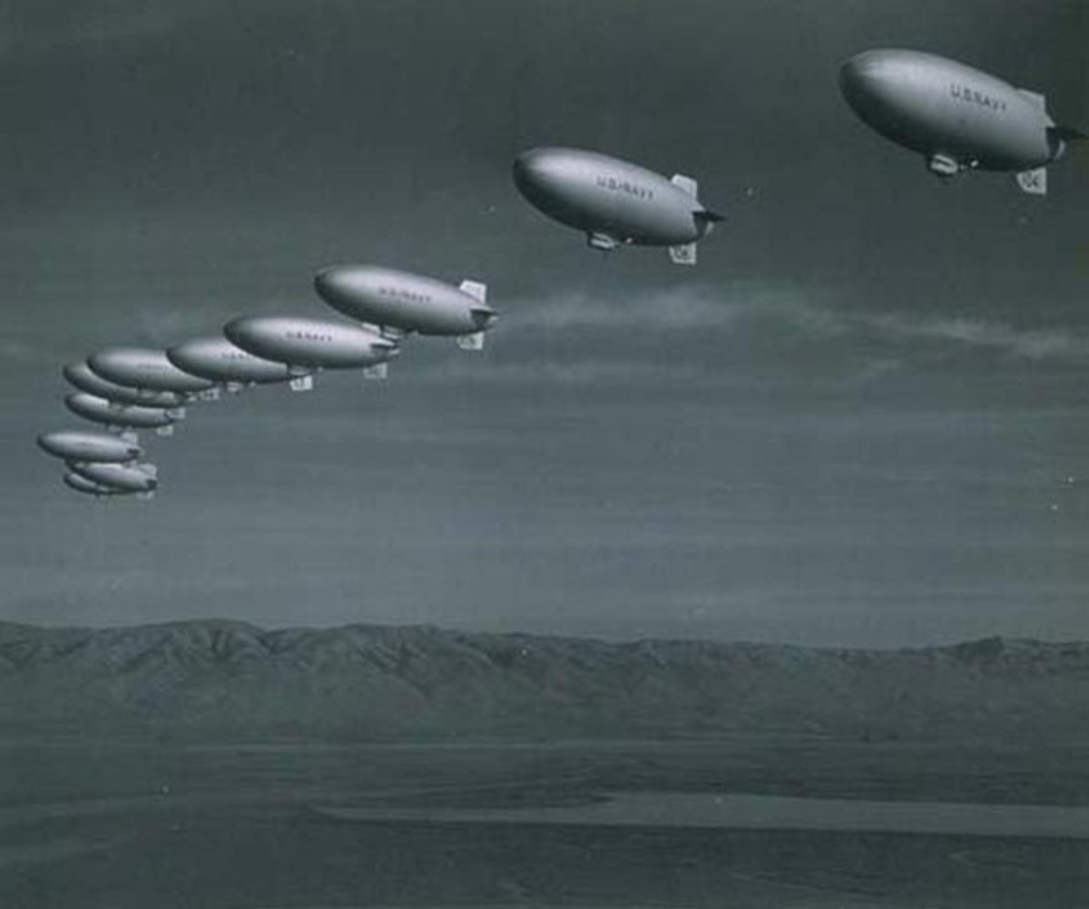 US Navy airships over Moffet Field, California during World II
