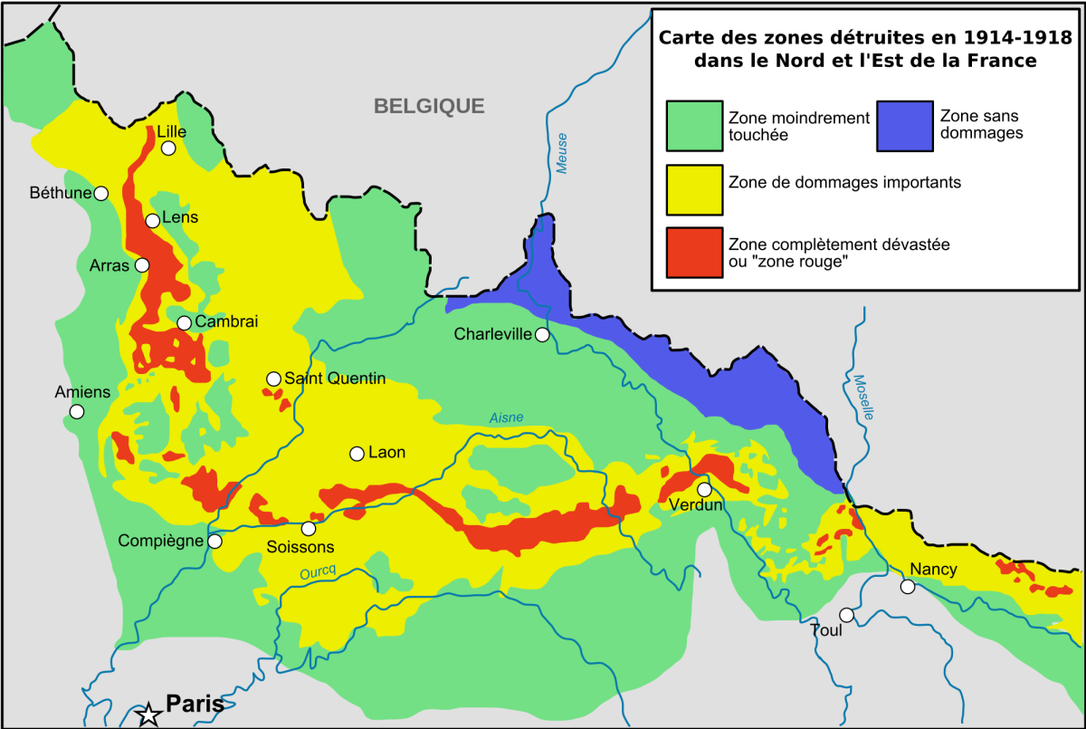This map shows the areas the French Government have determined as destroyed after WW1.  Red shows completely devasted while yellow, green and blue show areas that have been deemed moderately damaged or cleaned up enough to be returned to civilization
