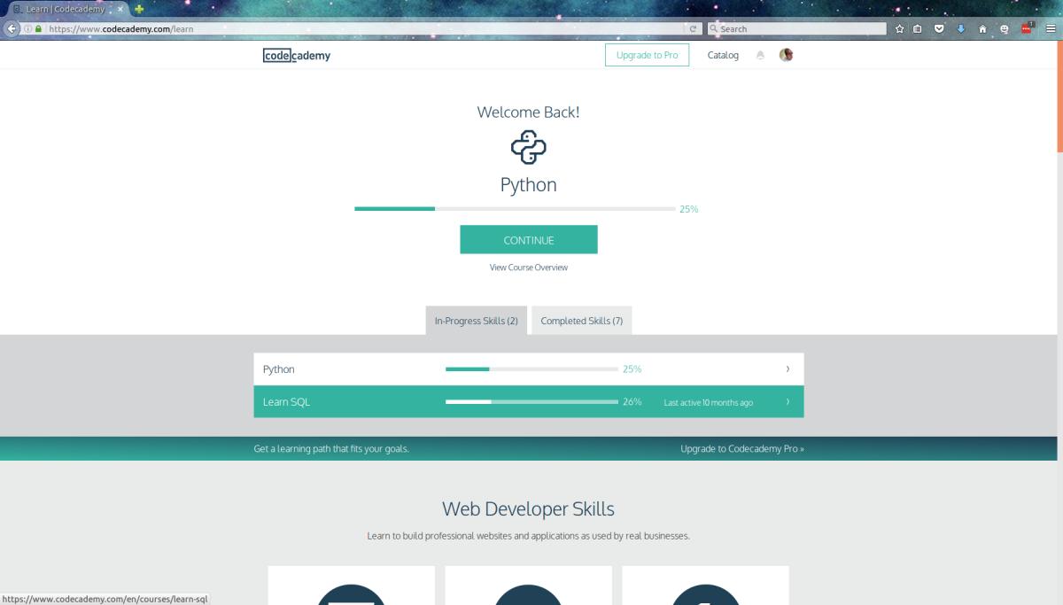A screenshot of the Codecademy dashboard.