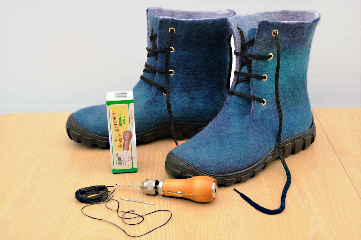 Wet Felted Boots ready to be attached to rubber soles with Speedy Sewing Awl and Latex.