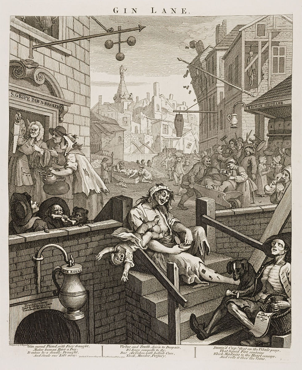 Gin Lane by William Hogarth of 1751.